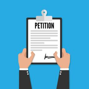 Petition clipboard in hand. Flat design, vector
